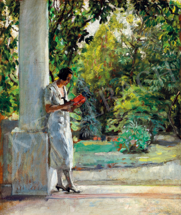 Pólya, Tibor - Young Woman Reading on the Veranda (Szolnok)