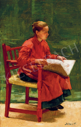 Bihari, Sándor - Girl with Sketch Book in the Studio in Szolnok