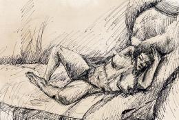 Tihanyi Lajos - Fekvő női akt (1911)