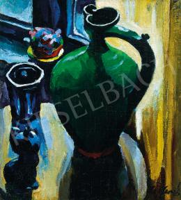 Ziffer Sándor - Csendélet kék pohárral a művész nagybányai műtermében