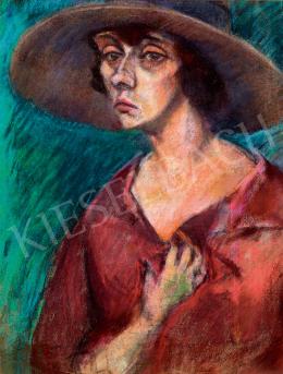 Tihanyi Lajos - Kalapos nő portréja