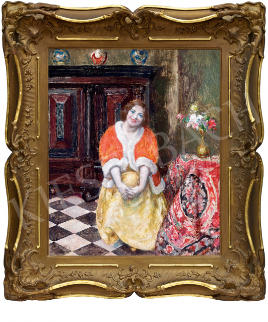 Csók István - Piros kabátos hölgy (Dolce Far Niente) | 47. őszi aukció aukció / 163 tétel