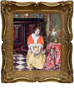Csók István - Piros kabátos hölgy (Dolce Far Niente)