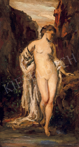 Székely, Bertalan - Female Nude with Drapery (By the Spring)