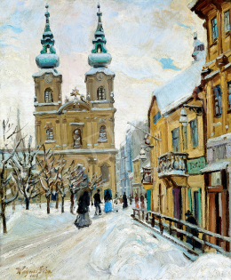 Wágner, Géza - Winter in the City (Batthyány Square)