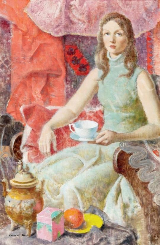 Kontuly Béla - Fiatal lány (Egy csésze tea) festménye