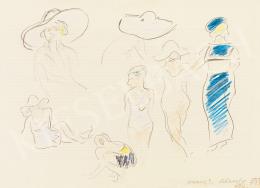 Vaszary, János - Women with Hat on the Beach in Italy (1933)