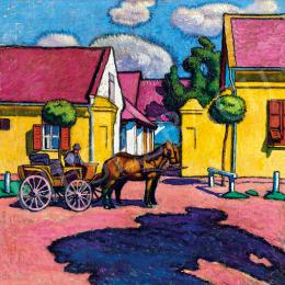 Pechán, József - Sunlit Street with Horse-Carriage (c.  1911)