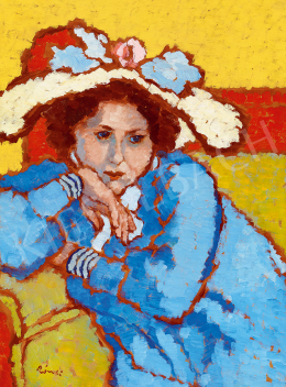 Rippl-Rónai József - Kékruhás lány virágos kalapban (1909 körül)