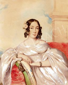 Barabás, Miklós - Lady in a White Silk Dress with a Rose (1838)