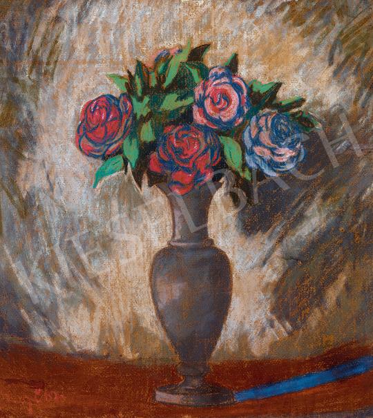 Sassy Attila - Kék vázás csendélet rózsákkal | 48. téli aukció aukció / 38 tétel