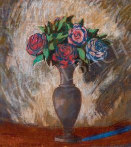 Sassy, Attila - Blue Vase with Roses