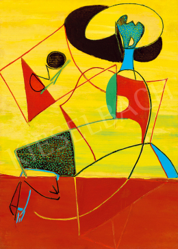 Vajda, Júlia - Figure Stepping with Horizon (Composition) (1948)