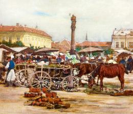 Johann Nepomuk Geller - Market in Znaim (bohemia)