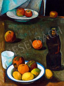 Czigány Dezső - Csendélet gyümölcsökkel és szoborral