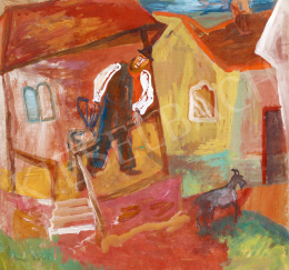 Anna, Margit - Yard with a Porch (Man Calling his Goat)