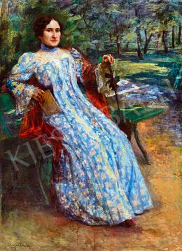 Kernstok Károly - Kékruhás nő a parkban
