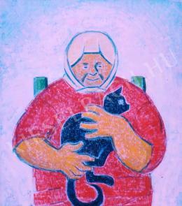 Járitz, Józsa - An old lady with a cat