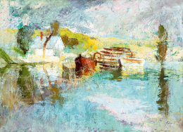 Szőnyi, István - Lights on the Danube (Landscape with Water Mill)