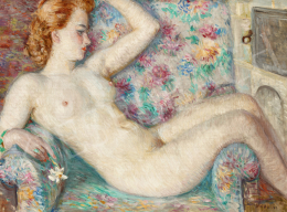 Boldizsár, István - Nude in a Flowery Arm-Chair