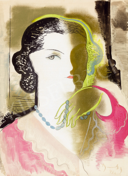 Bene, Géza - Art Deco Woman with Pearl Necklace