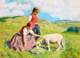 Glatz, Oszkár - Girls with Sheep
