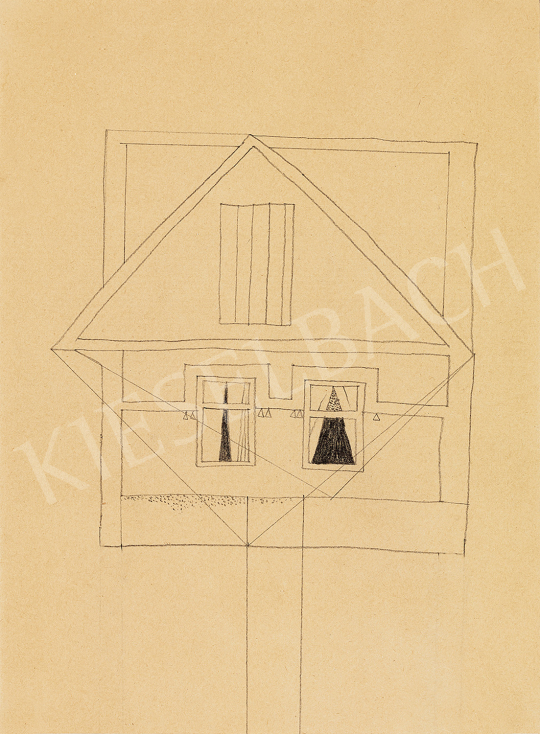 Vajda Lajos - Ház cölöpön, függönyös ablakokkal | 49. tavaszi aukció aukció / 122 tétel