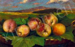Pállya Celesztin - Őszibarackos gyümölcsöstál háttérben tájjal
