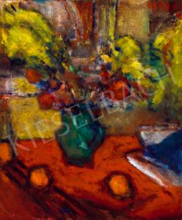 Czóbel Béla - Műtermi csendélet virágokkal, naracsokkal