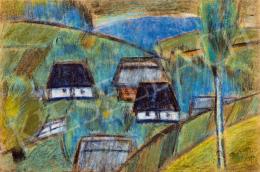 Nagy István - Erdélyi táj (Domboldal házakkal)