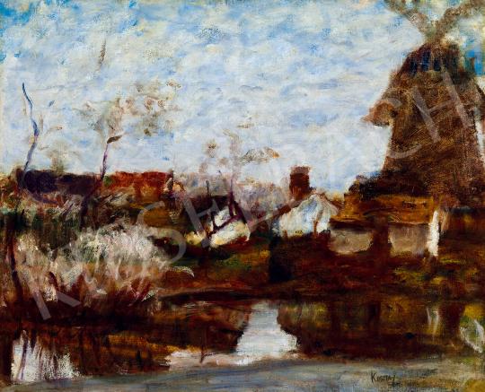 Koszta József - Vízpart szélmalommal | 49. tavaszi aukció aukció / 216 tétel