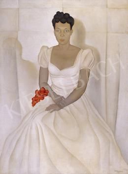 Basilides Barna - Nő báli ruhában