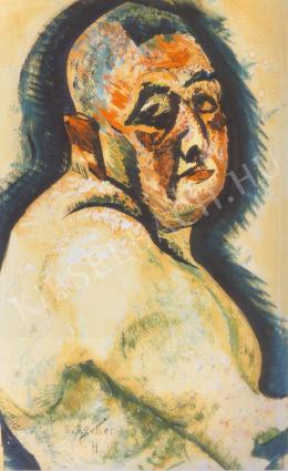 Scheiber Hugó - Ruhátlan önarckép (1922 körül)