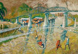 Scheiber Hugó - Vasúti híd folyó felett (1920 körül)