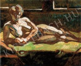 Scheiber Hugó - Ágyon könyöklő akt (1920 körül)