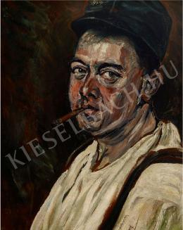 Scheiber Hugó - Katonasapkás, szivarozó önarckép (1917)