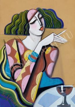 Scheiber Hugó - Bárhölgy cigarettával és pohárral (1930-as évek első fele)