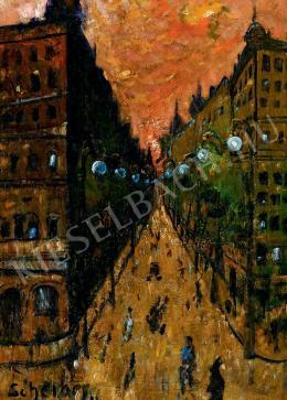Scheiber Hugó - Nagyvárosi utca vörös ég alatt (1922 körül)