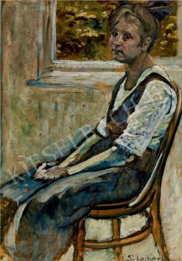 Scheiber Hugó - Thonet-széken ülő lány (1919 körül)