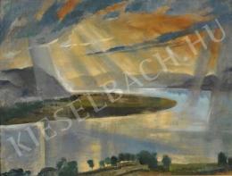 Szőnyi István - Dunapart felhők mögül kikandikáló nappal (1920)