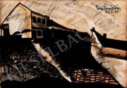 Nemes Lampérth József - Horgony utcai részlet (A lemenő Nap fényei a Tabánban) (1922)