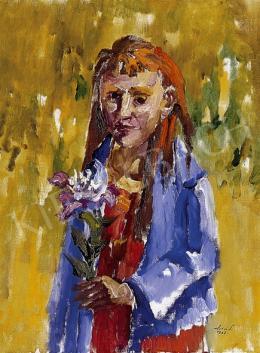 Holló László - Kislány virággal