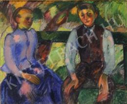 Márffy Ödön - Fiú és leány zöld padon ülve (Fiatal parasztpár) (1908)