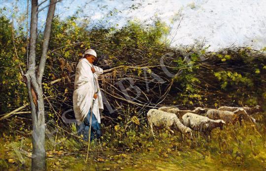 K. Spányi Béla - Pásztorlány (Őszi hangulat) festménye