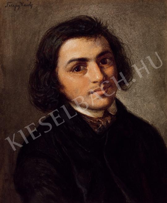 Telepy Károly - Fiatal férfi arcképe festménye