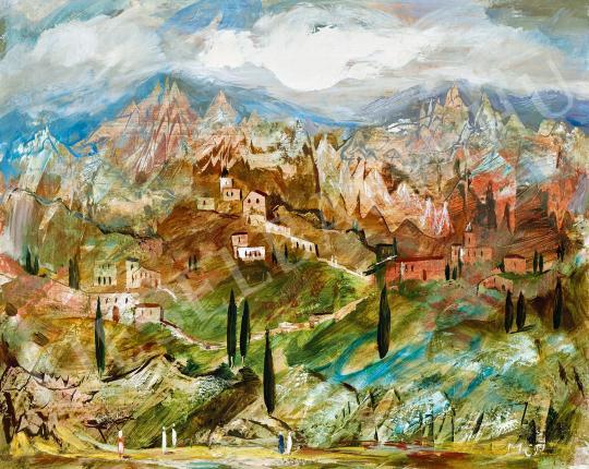 Molnár C., Pál - Romantic landscape (Italy) painting
