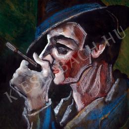 Scheiber Hugó - Kalapos férfi (Cigarettázó)
