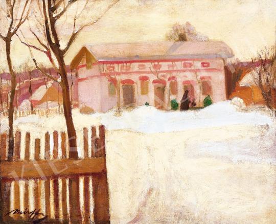 Márffy Ödön - Téli táj kerítéssel festménye