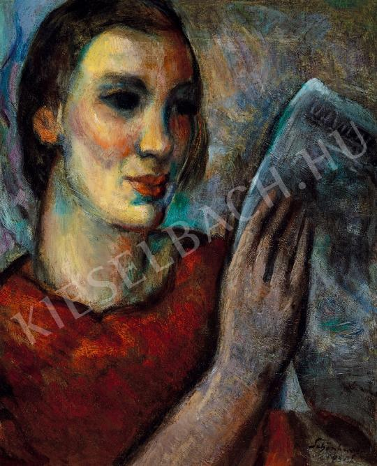 Schönberger, Armand - Young girl reading newspaper painting