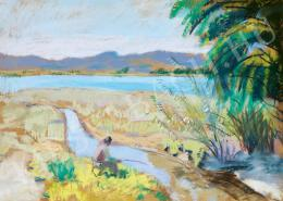 Berény, Róbert - Fisherman on the bank of the Danube